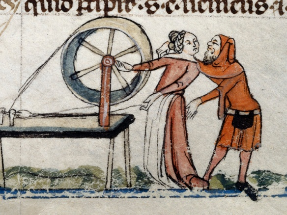 Man accosting a woman at the loom: Smithfield Decretals, Southern France, late 13th -- early 14th Century.  British Library, Royal MS 10E